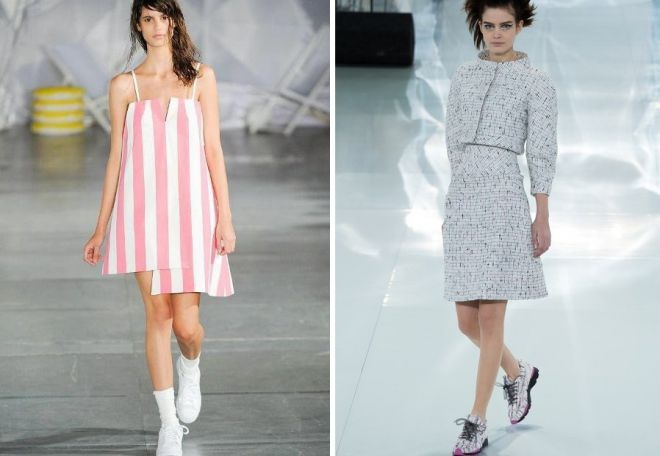 сочетание платье и кеды
