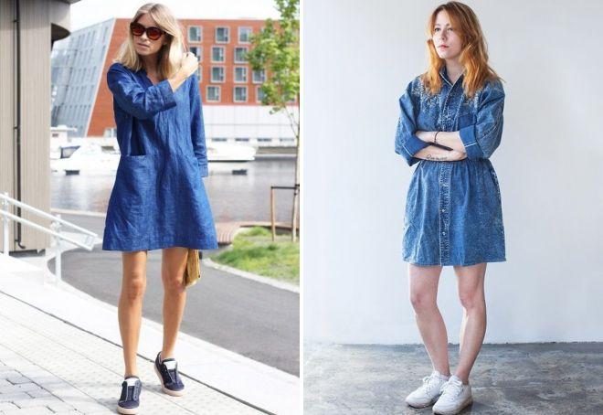 джинсовое платье с кедами