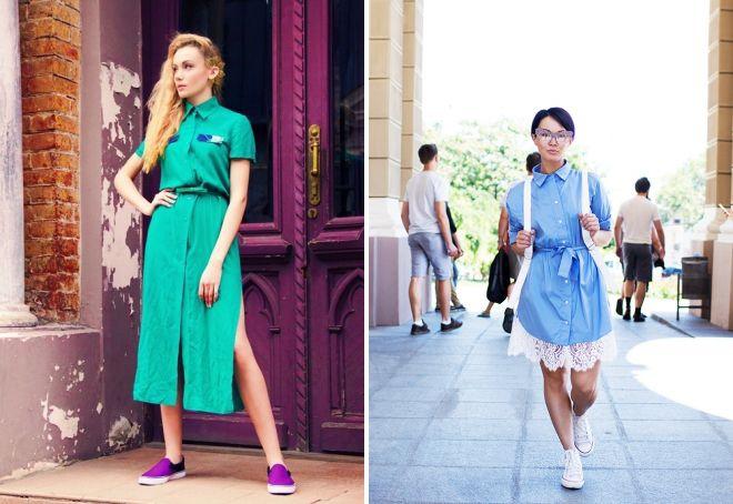 женские кеды с платьем