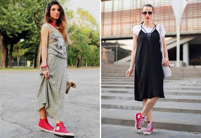 платье с высокими кедами