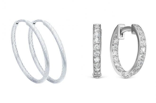 серебряные серьги кольца
