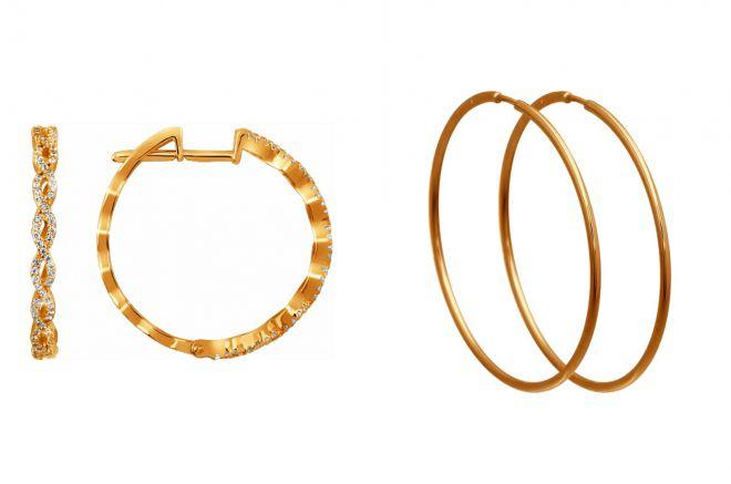 модные серьги кольца