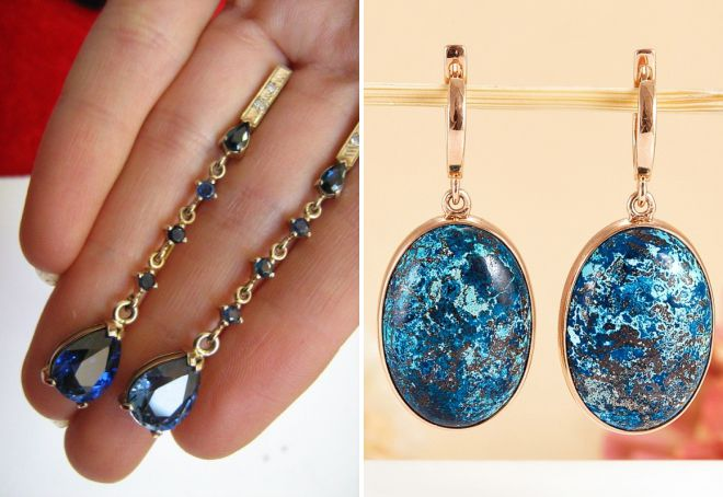 серьги с синим камнем