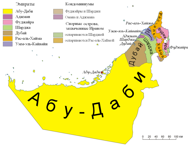Карта эмиратов ОАЭ