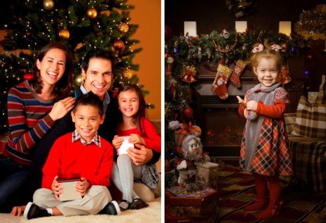 družinsko fotografsko novoletno fotografijo v studiu 4