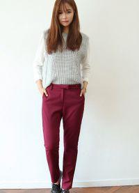 Ženske klasične hlače, zožene na dnu6