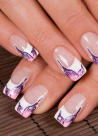 piękne francuskie paznokcie ze wzorem 2
