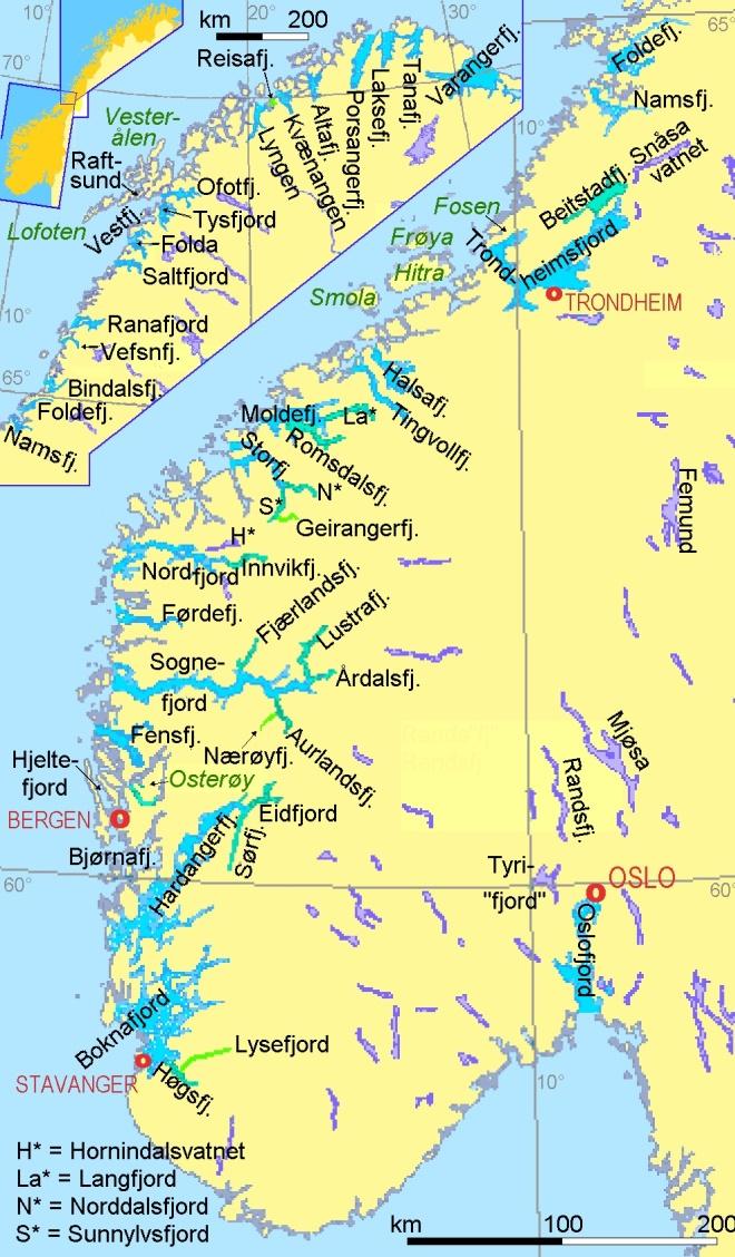 Фьорды Норвегии на карте