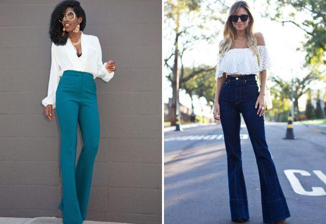 брюки клеш с высокой талией