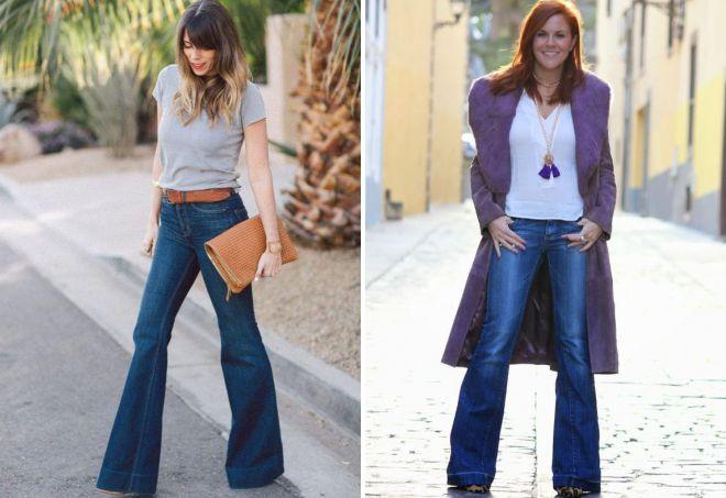 джинсовые брюки клеш