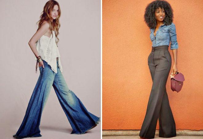 женские брюки клеш от бедра