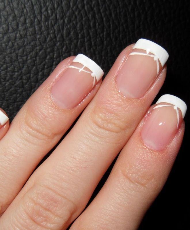 французский маникюр на короткие ногти четыре