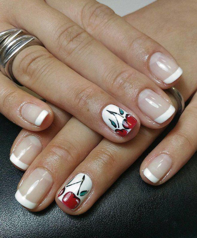 французский маникюр на короткие ногти шесть