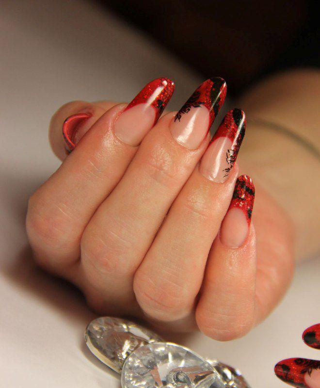 французский маникюр на длинных ногтях пять