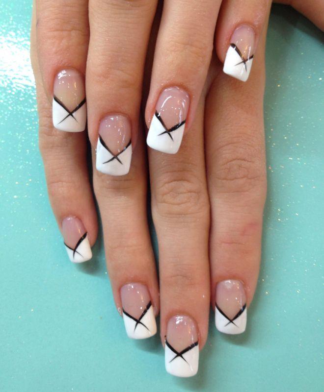 французский маникюр на длинных ногтях шесть