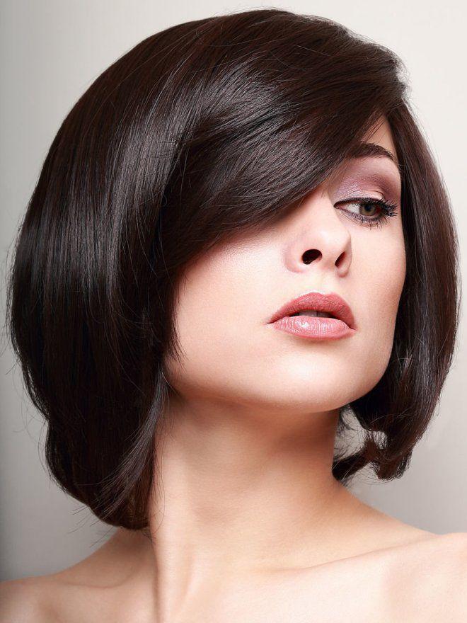 челка для круглого лица на средние волосы три