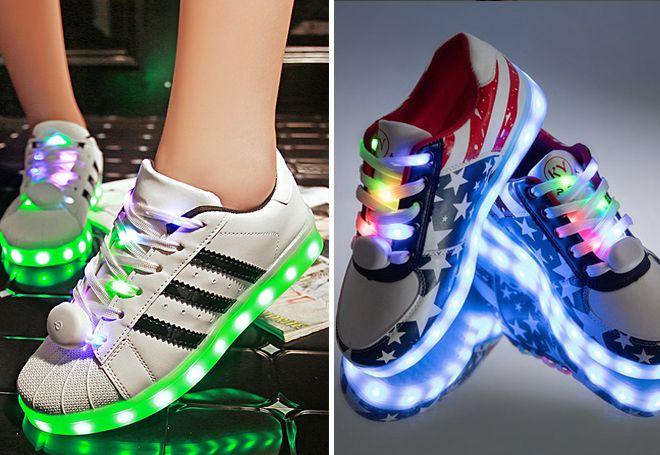 Кеды со светящимися шнурками