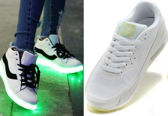 Без режима подсветки такие кеды выгдялят как обычная обувь