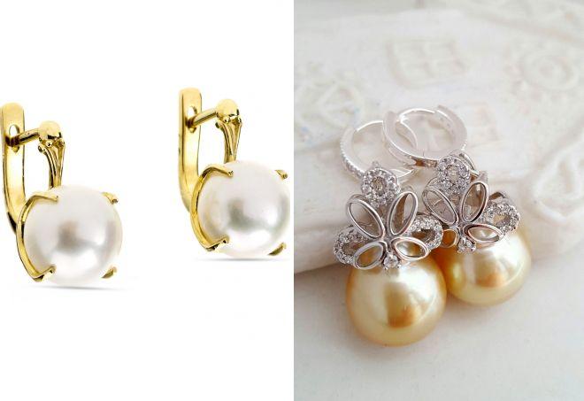 золотые серьги с белым жемчугом