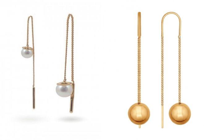 золотые серьги подвески с жемчугом