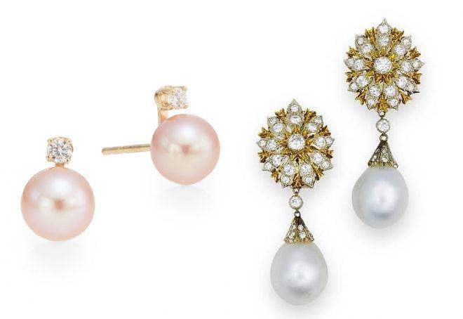 золотые серьги с бриллиантом и жемчугом