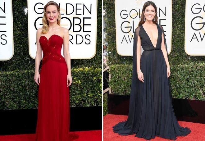 1 Brie Larson i Mandy Moore wybrały harmonijne suknie wieczorowe