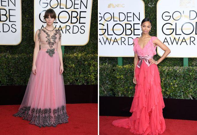 17 Felicity Jones i Zoe Saldana pojawili się w podobnych strojach z dużą ilością ruche.