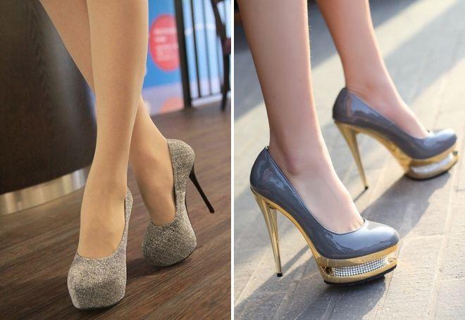 туфли на шпильке серого цвета