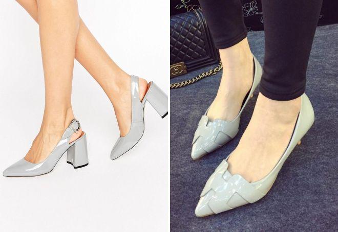 серые лаковые туфли