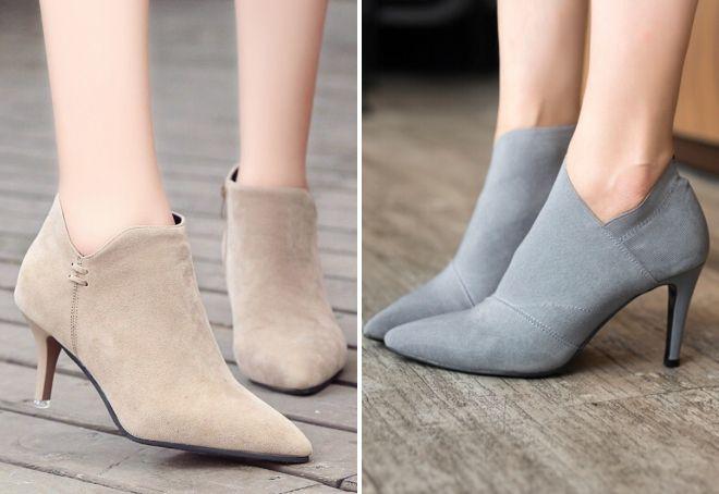 закрытые серые туфли