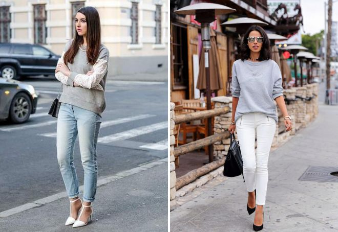 серый свитшот и джинсы
