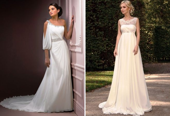 modne suknie ślubne w greckim stylu