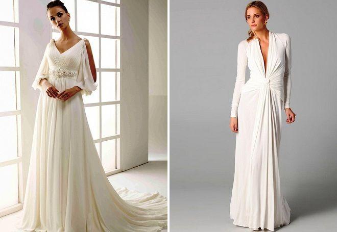 suknia ślubna w greckim stylu z rękawami