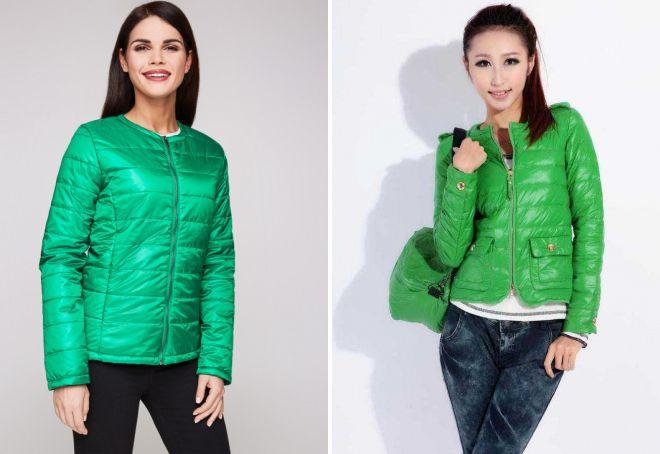женская зеленая куртка