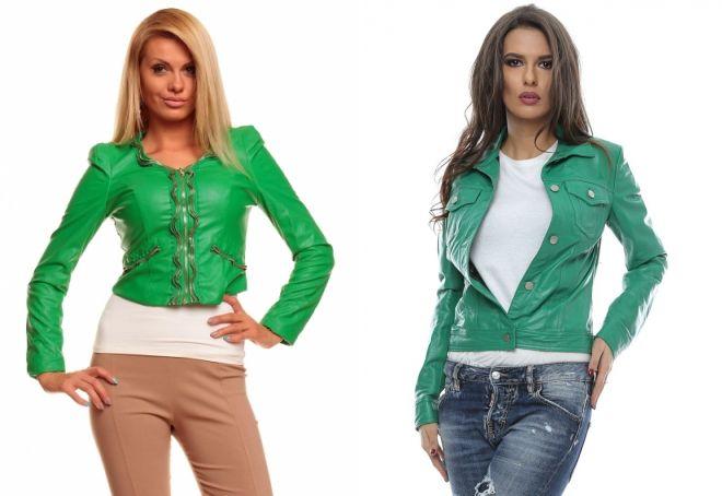 кожаная куртка зеленого цвета