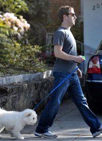 Марк Цукерберг гуляет с собакой