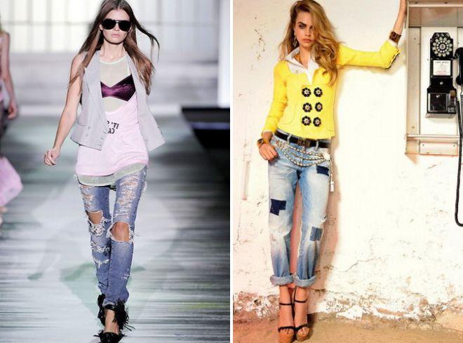 рваные джинсы стиль гранж 2017
