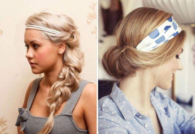 fryzura na długie włosy z bandażem