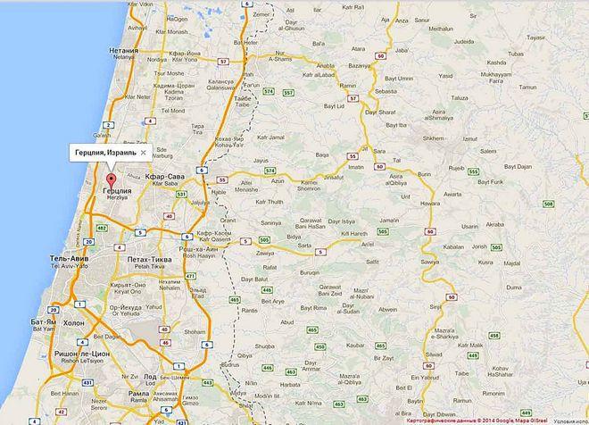 Герцлия (Израиль) на карте