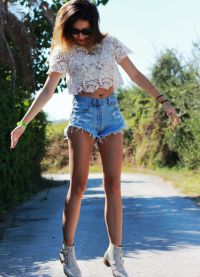 wysokie spodenki jeansowe 1