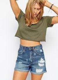 wysokie spodenki jeansowe 4
