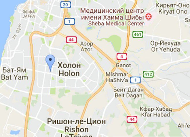 Город Холон на карте