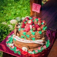 как украсить детский торт фруктами 3