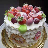 как украсить детский торт фруктами 2
