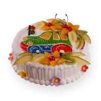 как украсить детский торт фруктами 1