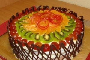 как украсить торт шоколадом и фруктами 5