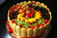 Как украсить торт фруктами в желе 3