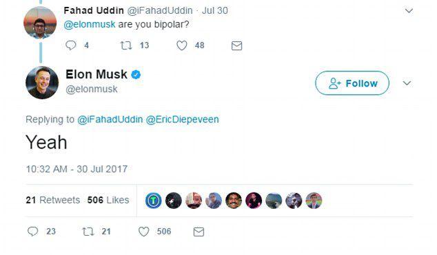 Илон Маск признался, что страдает от маниакально-депрессивного психоза