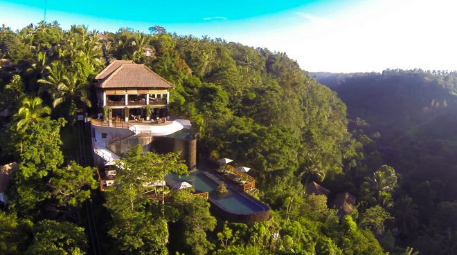Вид на отель Hanging Gardens в Убуде, Индонезия
