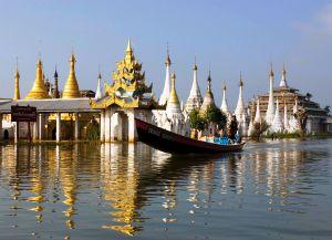 Панорама монастыря Пхаунг До У Куанг на озере Инле